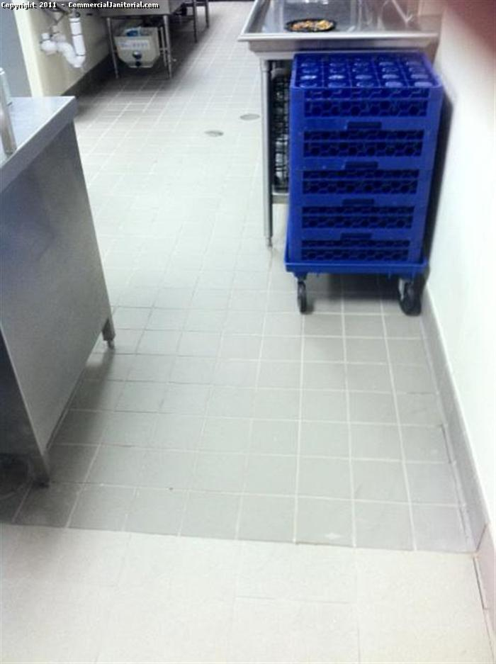 This is the floor of a school kitchen floor after it was machine scrubbed.