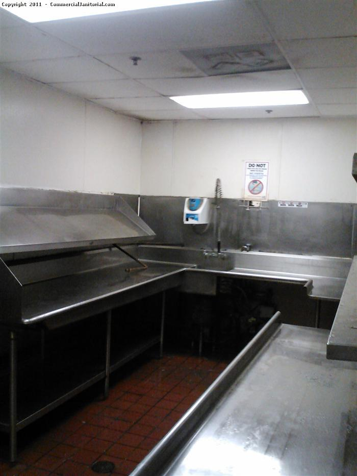 This industrial kitchen is now ready for business. Getting a professional cleaning crew to clean up after a cleaning area may seem redundant, but we have the right equipment and trained staff to make short work of any industrial cleaning situation. We specialize in daily scheduled cleaning and 1 time emergency or move out industrial kitchen cleaning.
