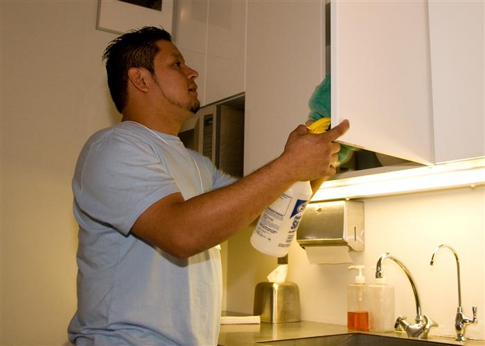 Cleaning the kitchen in an office is very important because the kitchen, galley or sinks in an office are often times a vector for germs and disease. Germs in a kitchen are often times more prevalent than in a bathroom.