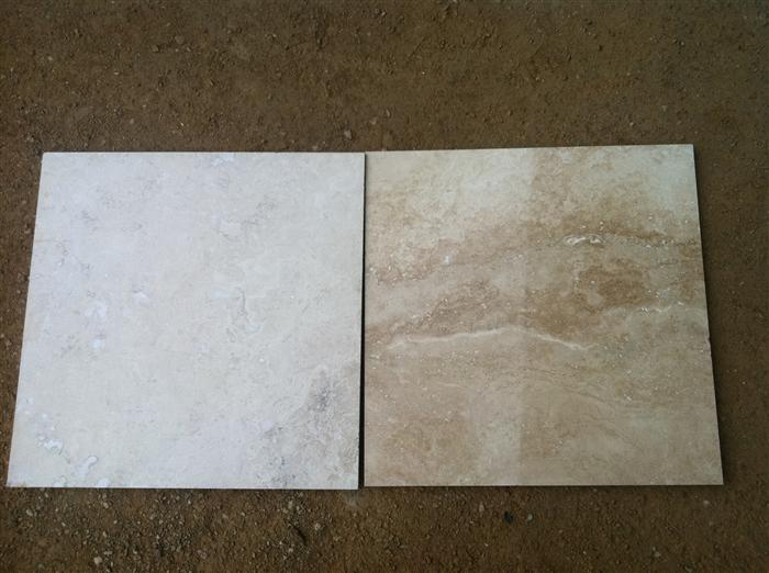Here is a before and after picture of how we can polish your travertine floors.
