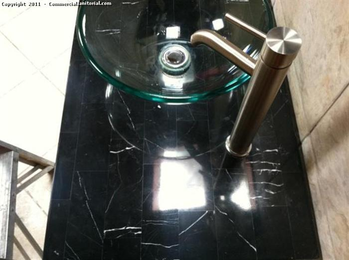 Marble sink counter after polishing photo.
