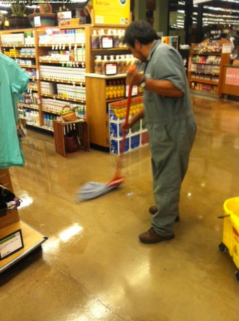Scrub and wax nice n shiny put back mats, carts , tables and chairs