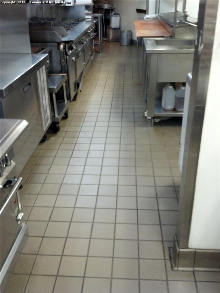 ceramic kitchen floor in a restaurant after a routine cleaning service