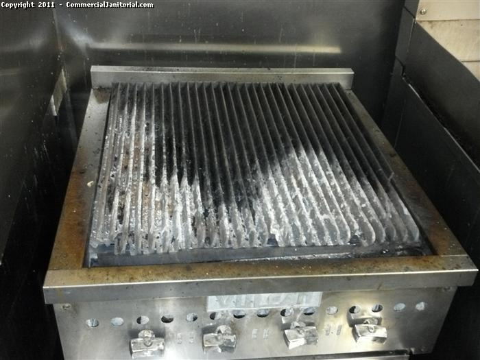 Restaurant commercial kitchen. This is how we find a grill each night before we clean