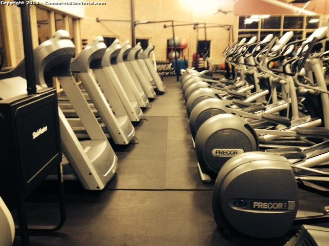 7.21.14 Maria Carbajal performed inspection  The fitness center looks great. Machines dusted and disinfected  Floors swept and damp mopped.  Account will be happy.
