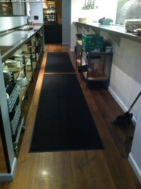 Kitchen was cleaned , Floor mats were vacuumed Dining room floor was swept and mopped