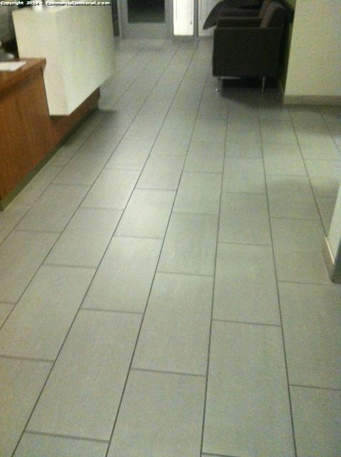 Strip n wax break room was really scratched up alot. burnished rest of vct in hallway and scrub ceramic tile in lobby looks great. Did not finish scrubbing tile in restroom had to be out by 1000pm according to yenniftier for alarm