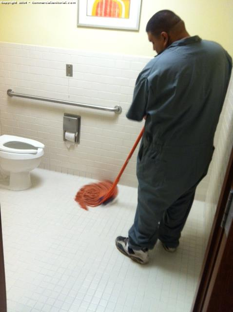 After we color sealed the grout we mop the residue.