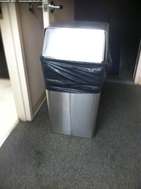 Trash Bins have been replaced with new trash liners, Trash bin wiped down with stainless steel .