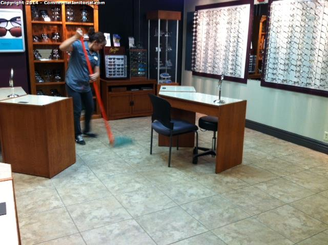 Damp Mopping Tile In Retail Store Image - Floor tile retail stores