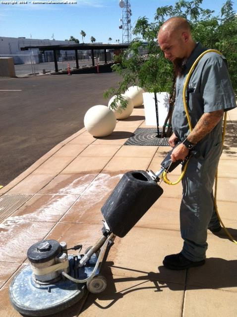 using side by side services to clean concrete