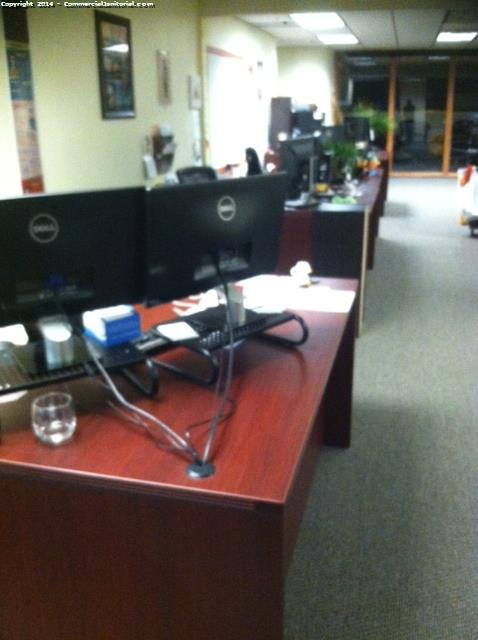 All desk were wiped down and cleaned efficiently , client was happy
