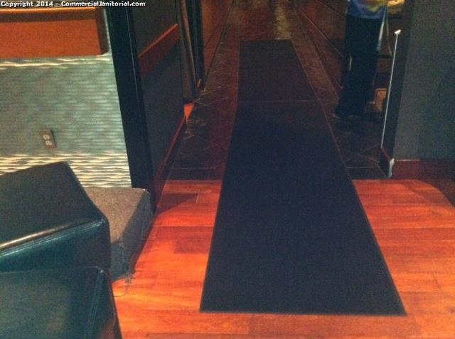 Restaurants use mats to keep the floor clean which makes it easier for the janitors