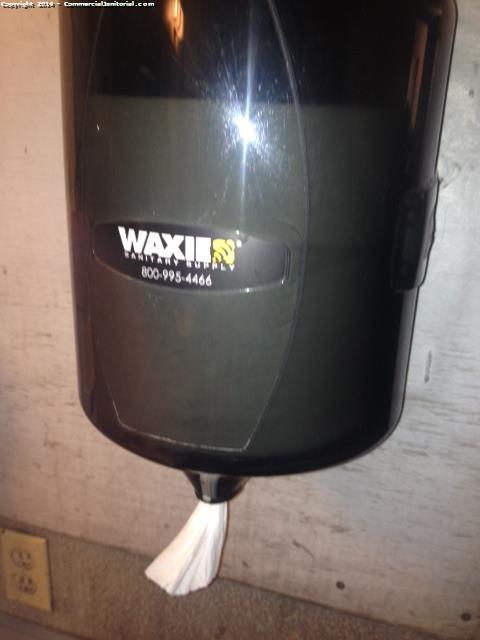 6/12/14 Brenda Sanchez Cleaner on site Issues found & corrected 1. Some dust on cabinet tops - dusted off 2. Some debri around toilet - picked up 3. Some debri underneath sink - picked up 4. Some dust on restroom vent - dusted off Ready to fix any issue Has all equipment & chemicals to perform job Wearing uniform Consumables ok FYI All warehouse toilets were cleaned w/ foamy Q&A Floor was mopped Also I did the tissue test on several parts to assure it wasn