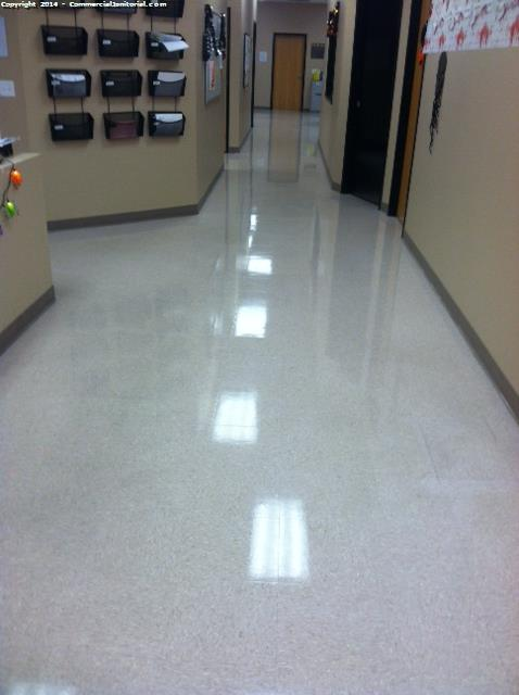 Strip And Wax Vct Floors In School Hallway Image