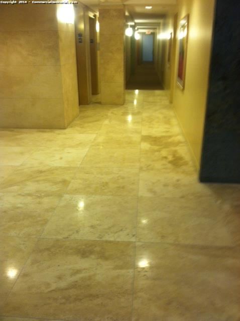after travertine was polished in a lobby of a resort