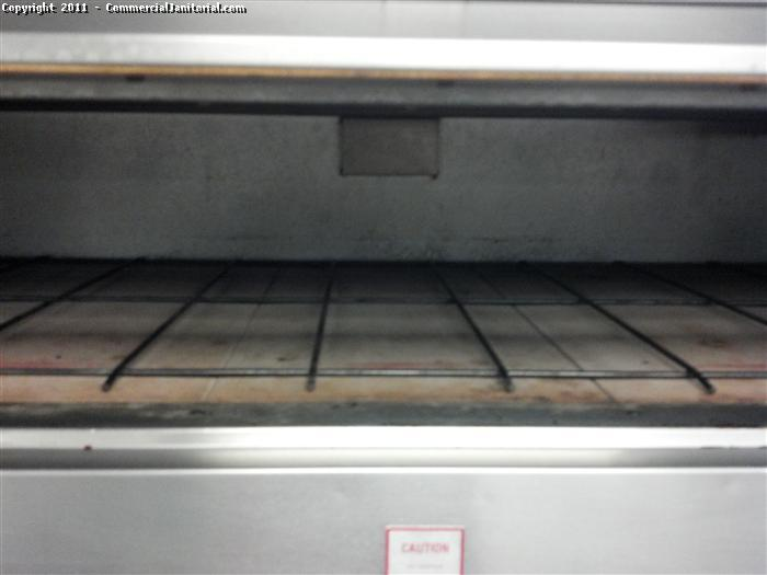Commercial kitchen and restaurant cleaning. This is an after picture of an oven. We used scouring pads, oven cleaner, and steam cleaning.