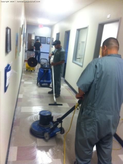 Here on site making sure floor crew is doing the right process on floor. They will be scrubbing all areas and stripping kitchen only. Due to floor condition .