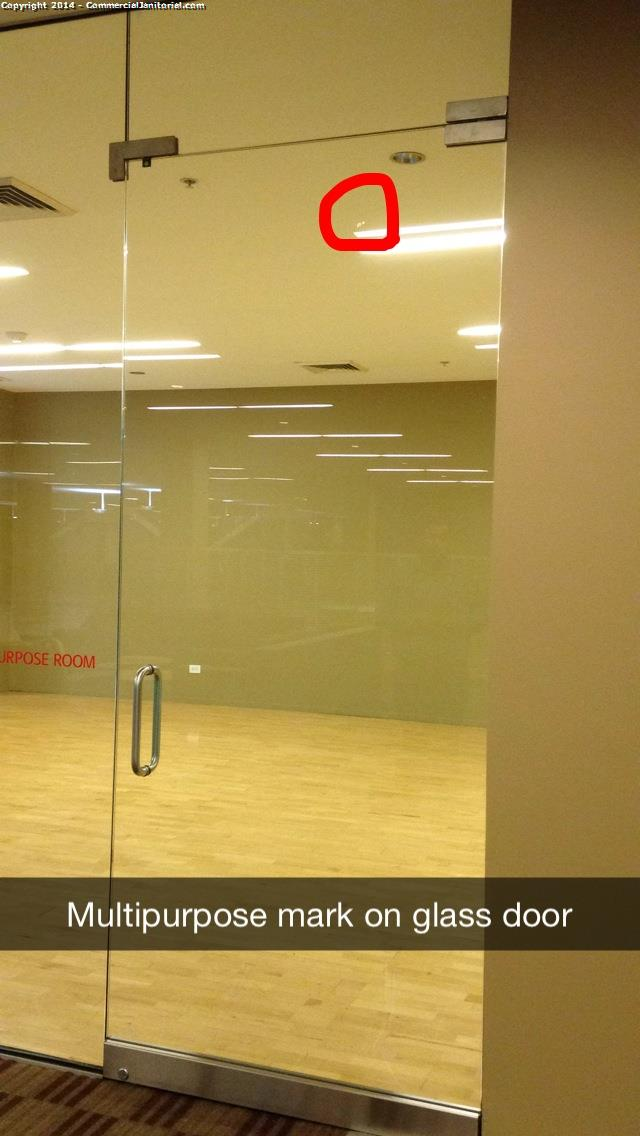 The top of the multipurpose room glass door has a spot on it. See photo.