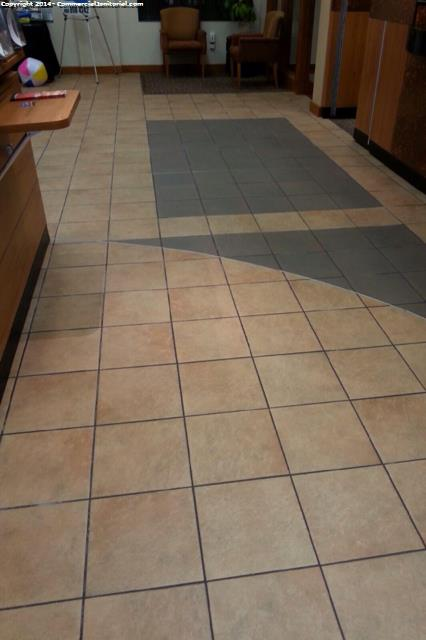 ceramic tile floor scrub as part of our cleaning services in bank