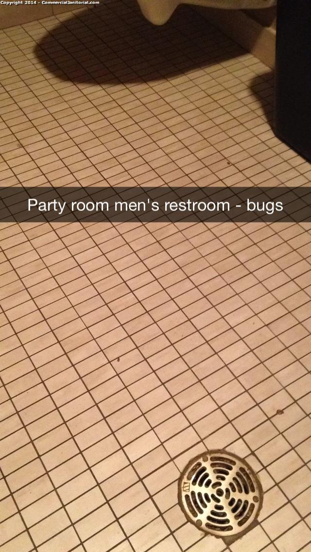The multipurpose room small restrooms need to be swept and mopped well. There are bugs in the men